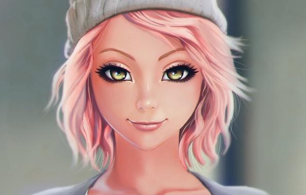 Картинка взгляд, девушка, лицо, настроение, шапка, красота, красавица, art