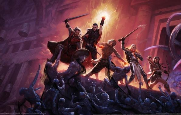 Картинка замок, монстры, битва, герои, game wallpapers, Pillars of Eternity