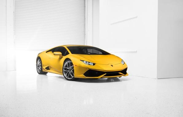 Картинка Lamborghini, Car, Front, Yellow, Photo, Supercar, 2014, Huracan, LP610-4