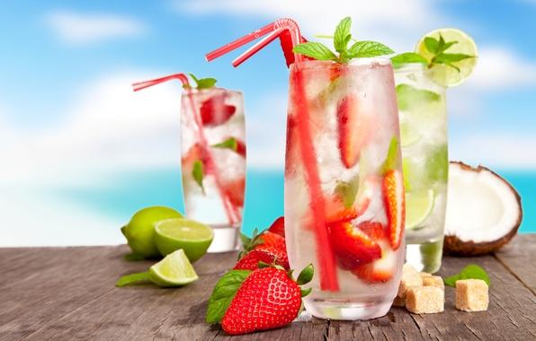 Картинка лед, лето, ягоды, кокос, бокалы, клубника, сахар, лайм, напитки, цитрусы, лимоны, коктейли, трубочки, мохито, cocktails, …