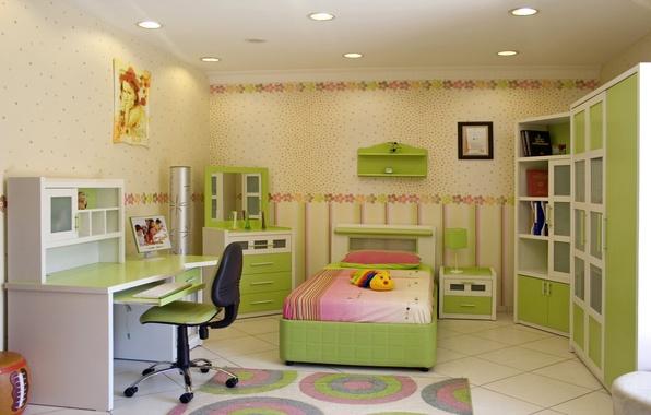 Картинка цветы, дизайн, стиль, стол, комната, игрушки, лампа, кровать, интерьер, подушки, стул, шкаф, спальня, детская