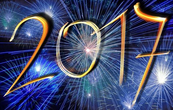 Картинка ночь, синий, желтый, огни, фон, праздник, голубой, графика, новый год, вектор, салют, цифры, фейерверк, золотой, ...