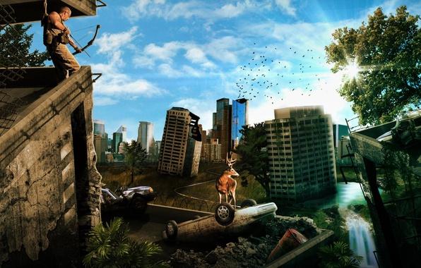 Картинка небо, солнце, машины, птицы, город, человек, дома, олень, лук, рога