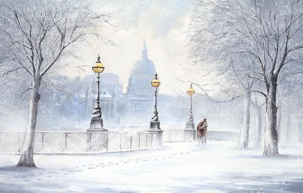 Картинка зима, снег, деревья, следы, город, улица, картина, фонари, двое, снегопад, бульвар, Jeff Rowland