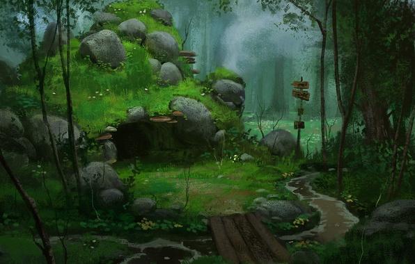 Картинка лес, мост, камни, арт, указатель, пещера, речка, логово