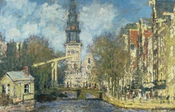 Фото обои картина, городской пейзаж, Клод Моне, Южная Церковь в Амстердаме