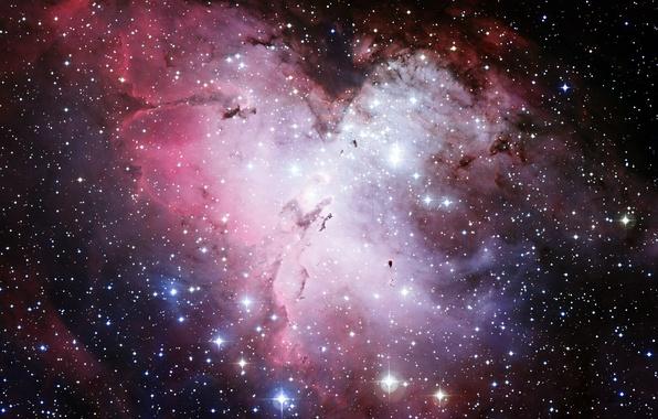 Картинка космос, звезды, туманность, Хаббл, Орел, телескоп, M16, NGC 6611