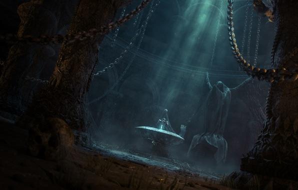 Картинка свет, меч, фэнтези, арт, храм, статуя, цепи, заброшенность, мрачно
