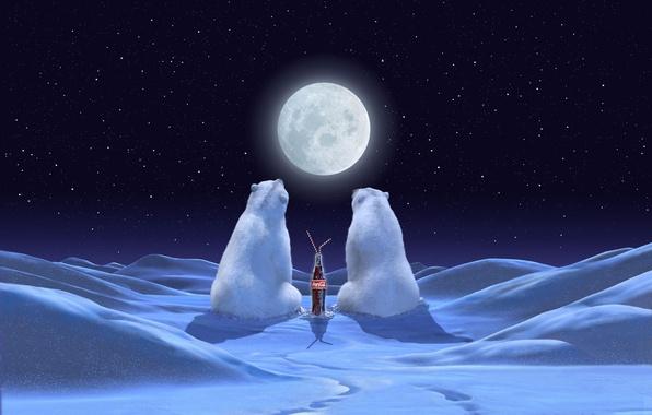 Картинка зима, звезды, снег, ночь, луна, реклама, медведи, Новый год, moon, Праздник, coca-cola, брэнд, night, кока-кола, …