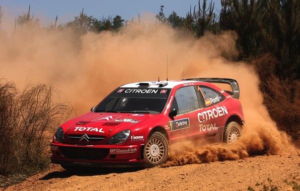 Картинка Красный, Авто, Пыль, Спорт, Машина, Скорость, Поворот, Занос, Citroen, WRC, Rally, Ралли, Xsara