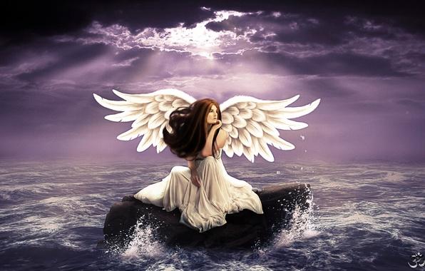 Картинка море, волны, небо, взгляд, девушка, задумчивость, лицо, крылья, ангел, белое платье, длинные волосы