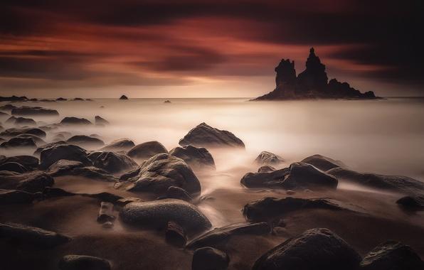 Картинка песок, море, пляж, небо, камни, скалы