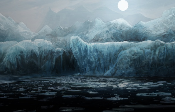 Картинка холод, море, вода, горы, ночь, океан, луна, лёд, арт, льдины