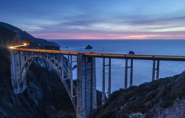 Картинка небо, облака, закат, горы, мост, розовый, вечер, выдержка, Калифорния, залив, США, Монтерей
