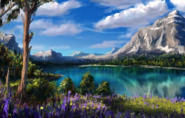 Картинка облака, деревья, цветы, горы, природа, озеро, арт