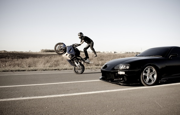 Картинка Дорога, Мотоцикл, Toyota, Каскадер