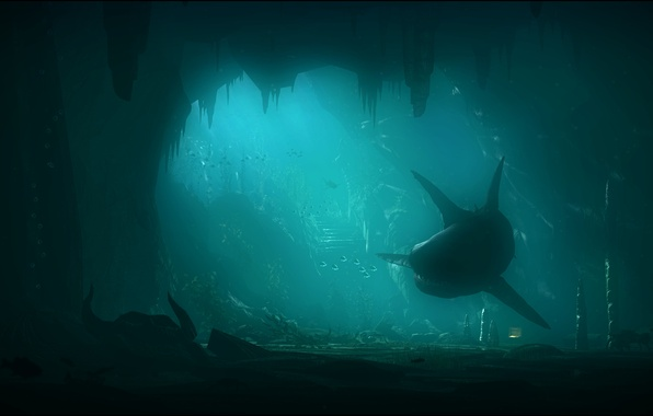 Картинка море, скалы, акула, арт, подводный мир