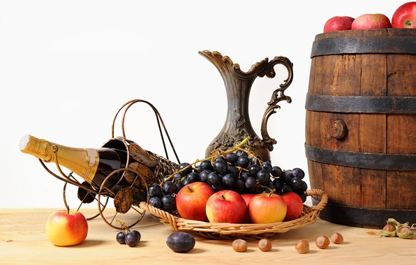 Картинка яблоки, виноград, кувшин, фрукты, орехи, шампанское, корзинка, бочонок