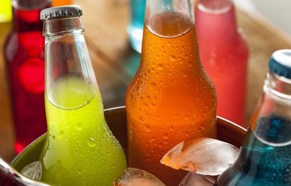 Картинка лёд, бутылки, напитки