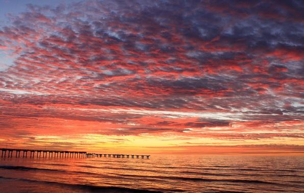Картинка море, пляж, рассвет, утро, пирс, заря