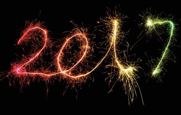 Картинка огни, фон, праздник, черный, графика, новый год, цифры, черный фон, дата, бенгальские огни, 2017, новый …