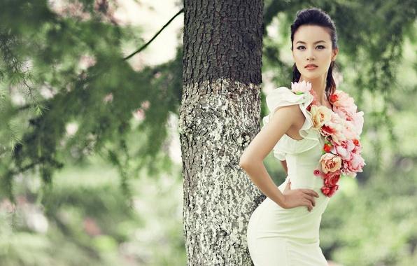 Картинка попка, взгляд, деревья, лицо, поза, парк, белое, Девушка, фигура, стройная, платье, азиатка, красивая, талия, симпатичная