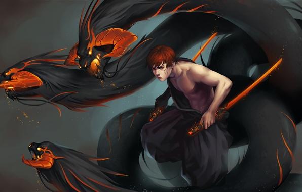 Картинка огонь, меч, демон, парень, art, inferno