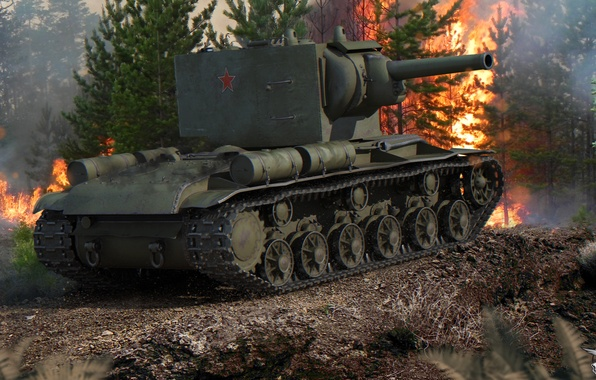 Картинка лес, пожар, огонь, дым, мощь, танк, броня, тяжелый, советский, КВ-2, World of Tanks