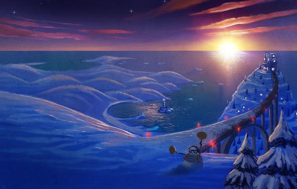Картинка зима, дорога, снег, настроение, праздник, новый год, сказка, арт, снеговик