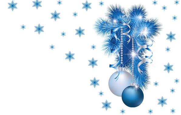 Картинка шарики, снежинки, веточка, настроение, праздник, новый год, минимализм, арт, ёлочка