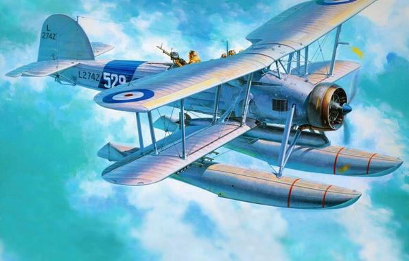 Картинка самолет, арт, бомбардировщик, британский, WW2., торпедоносец, Fairey Swordfish