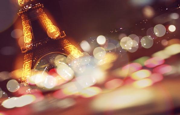 Картинка эйфелева башня, париж, франция, paris, боке
