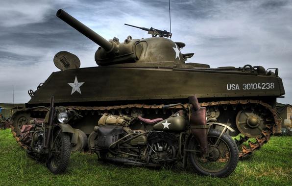 Картинка модель, войны, танк, Harley-Davidson, средний, M4 Sherman, периода, мировой, Второй, 1942г., WLA, «Шерман», военные мотоциклы