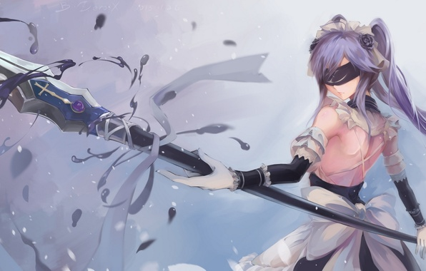 Картинка девушка, цветы, оружие, магия, розы, аниме, арт, повязка, бант, bzerox