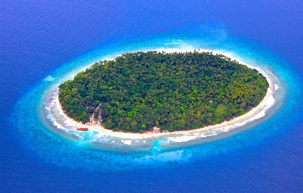 Картинка океан, остров, Мальдивы, риф, Maldives
