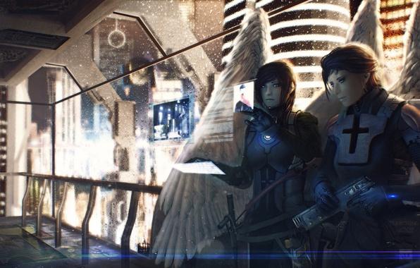 Картинка ночь, пистолет, оружие, фантастика, девушки, крылья, ангелы, близнецы