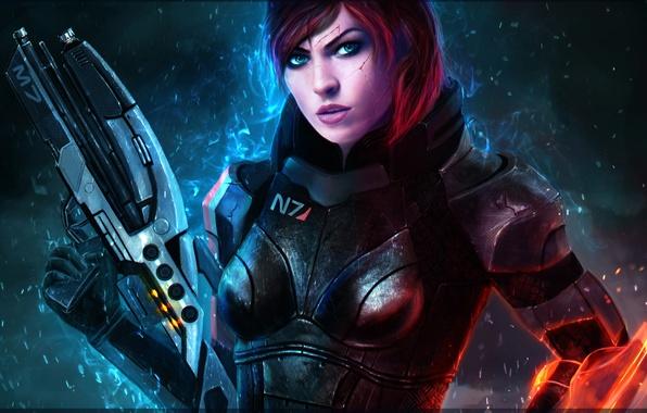 Картинка девушка, рыжая, mass effect, shepard, bioware, commander, renegade, Assault Rifles