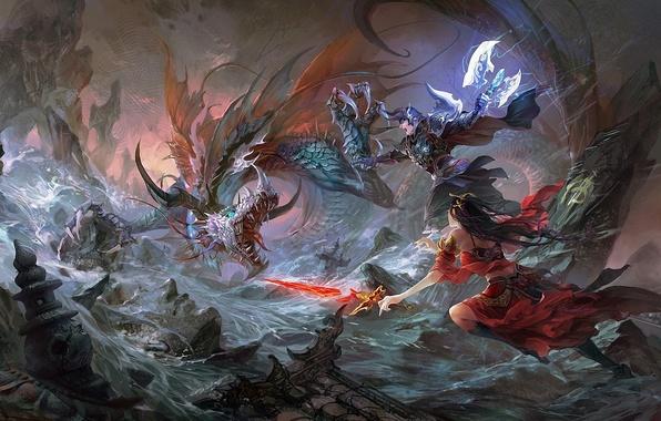 Картинка девушка, река, скалы, дракон, меч, арт, битва, парень, hgjart