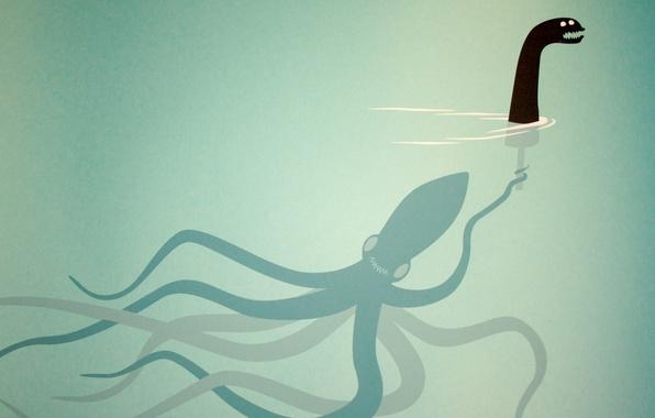 Картинка кукла, осьминог, чудовище, под водой, щупальцы