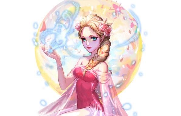 Картинка девушка, цветы, красавица, disney, elsa, frozen art