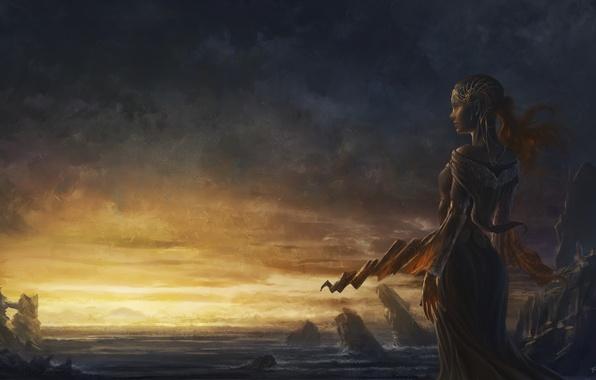 Картинка море, девушка, закат, камни, скалы, платье, арт, cyrilbarreaux