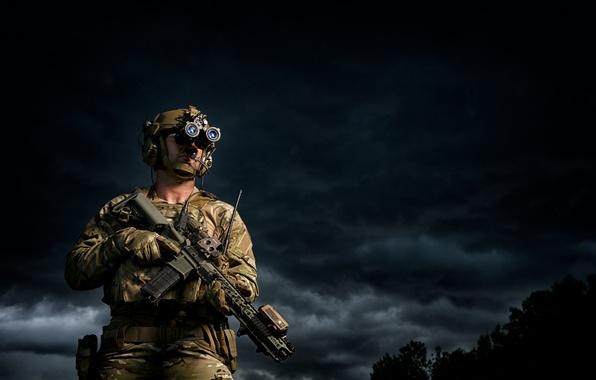 Картинка оружие, фон, солдат, мужчина, экипировка