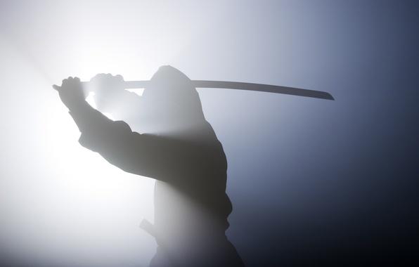 Картинка ситуация, дух, меч, катана, размытость, воин, силуэт, тени, дымка, камуфляж, ниндзя, снаряжение, амуниция, боке, ninja, …