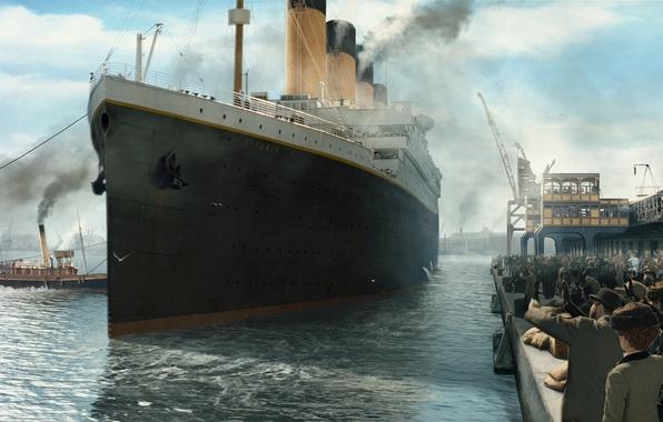 Картинка Причал, Рисунок, Лайнер, Люди, Титаник, Titanic, Пассажирский, Буксиры, Отход