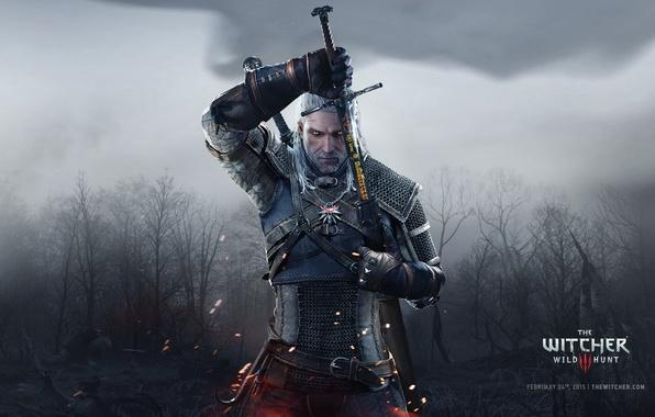 Картинка Белый, Лес, Меч, Трупы, Волк, Руны, Ведьмак, The Witcher, Wild, Геральт, RED, Gwynbleidd, Geralt, Ривии, …