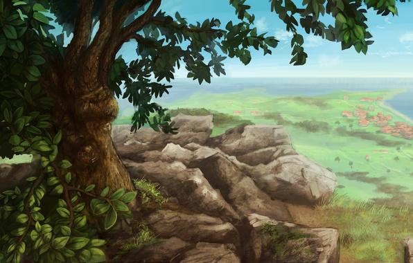 Картинка пейзаж, камни, дерево, скалы, вид, дома, поселение