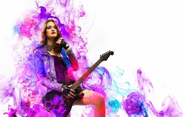 Картинка девушка, музыка, гитара, рок
