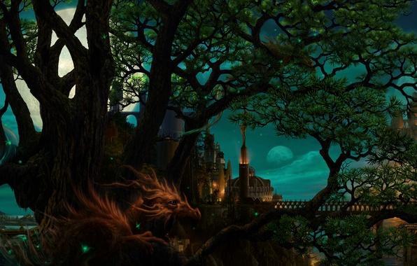 Картинка ночь, мост, город, дерево, луна, дракон, планеты, арт, ucchiey, kazamasa uchio