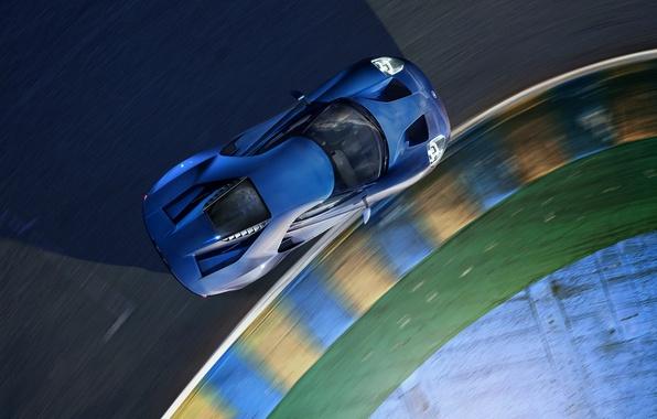 Картинка машина, Ford, поворот, суперкар, supercar, blue, вид сверху