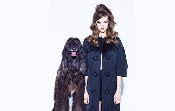Картинка ретро, фотосессия, Vogue, Lindsey Wixson, с собакой